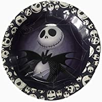 "Party Over Here Jack Skellington Plates, Round 7"" inch for Cakes or appetizers, 10 Piece Paper Plates,Nightmare Before Christmas, Halloween, Skeleton"