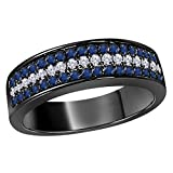 6MM 14K Black Gold Finish .925 Silver 0.50CT Blue Sapphire & White Cz Diamond Ring 3 Row Pave Half Eternity Men's Wedding Band Ring Size All Available