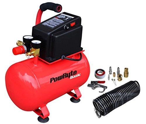 PowRyte Basic 3 Gallon Oil-Free Hotdog Portable Air Compressor- 100 PSI & 11pc Accessory Kit (Certified Refurbished) by PowRyte