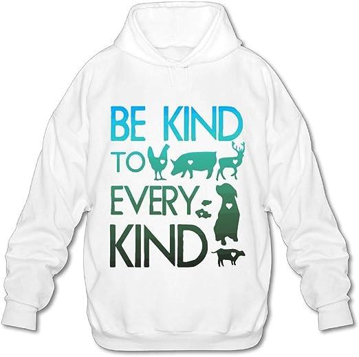 OPQRSTQ-O Be Kind to Every Kind Vegan Vegetarian Mens Funny Hooded Sweatshirt Hoody