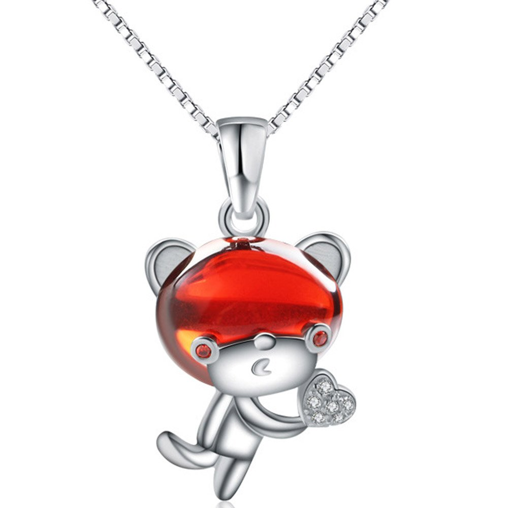Chaomingzhen Sterling Silver Rhodium Plated Cubic Zirconia Crystal Animal Monkey Heart Pendants Necklaces Women with Chain