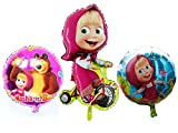 3Psc Metal Inflatable Balloon Masha and Bear (15.3-39inch) Holiday Children's Kids Party Party Favor Party Supplies Invitation Deco Russian Cartoon