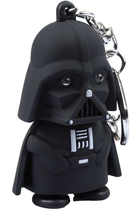 New Star Wars Darth Vader LED Flashlight Sound and Light Keychain Key Ring Black
