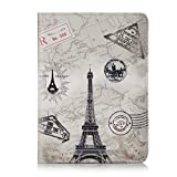 GuangDu Passport Holder Travel Wallet, Premium Vegan Leather RFID Blocking Case Cover - Securely Holds Passport, Business Cards, Credit Cards, Boarding Passes. (Paris tower)