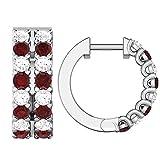 1.34 ct Real Diamond & Ruby Gemstone 10K Gold Hoop Earrings For Women's (white-gold)