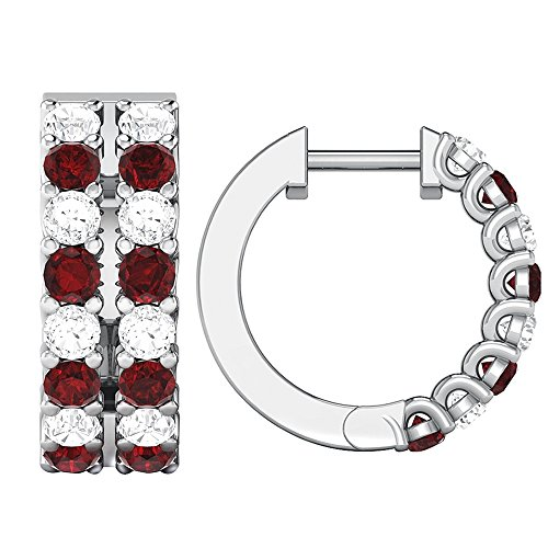 1.34 ct Real Diamond & Ruby Gemstone 10K Gold Hoop Earrings For Women's (white-gold) by omega jewellery