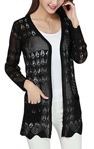 UwantC Womens Crochet Knitted Open Front Cardigan Long Sleeve Pocket Sweater Top Black