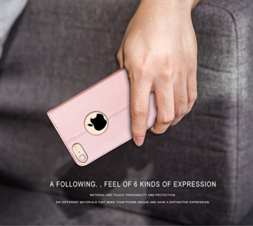 FYY Luxury PU Leather Wallet Case for iPhone 6S Plus/iPhone 6 Plus, [Kickstand Feature] Flip Folio Case Cover with [Card Slots] and [Note Pockets] for Apple iPhone 6 Plus/6S Plus (5.5'') Rose Gold by FYY (Image #5)
