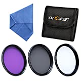 K&F Concept 58mm Filter Kit (UV, CPL Polarizer, FLD) for DSLR Camera Lens + Cleaning Cloth + Filter Pouch