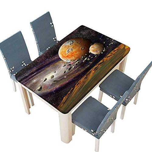 PINAFORE Polyester Tablecloth Table Cover View of The Mountains Earth from Space Alien Planet and Asteroid Belt on a Spiral Galaxy Background Washable for Tablecloth W41 x L80.5 INCH (Elastic Edge) ()