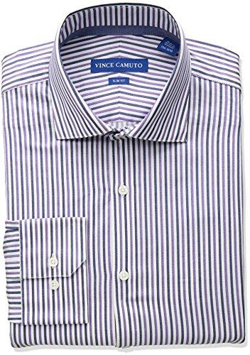 Sateen Stripe Cotton Dress Shirt - Vince Camuto Men's Slim Fit Spread Comfort Collar Dress Shirt, Violet Stripe, 15 32/33