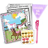 Lovely Pink Horse Kids Diary With Lock Includes 6.5 Inch Diary, Invisible Ink Pen, Stickers, & Bonus Activity Pages