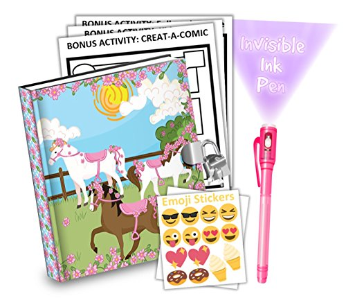 Lovely Pink Horse Kids Diary With Lock Includes 6.5 Inch Diary, Invisible Ink Pen, Stickers, & Bonus Activity Pages - Merchants Diary