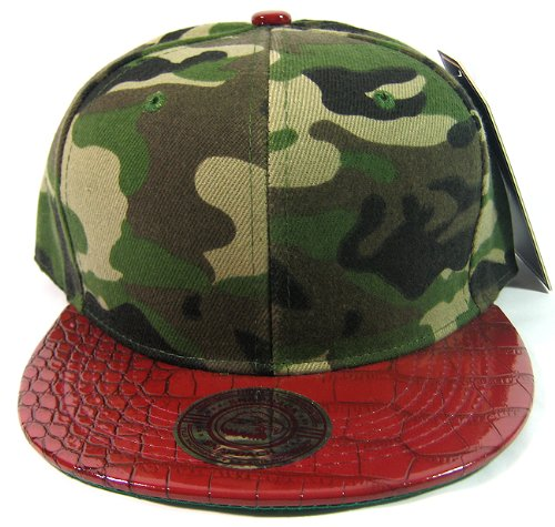 Blank Vintage Alligator Skin Snapback Hats Fashion | Camouflage Burgundy