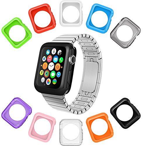 Apple Watch Case by La Zuzzi, 10 Soft Covers, 38mm, for Apple Watch Sport, Apple Watch & Edition, Anti Scratch Protection Cover, Match Colors with Your iPhone Case, New in Apple Watch Accessories!