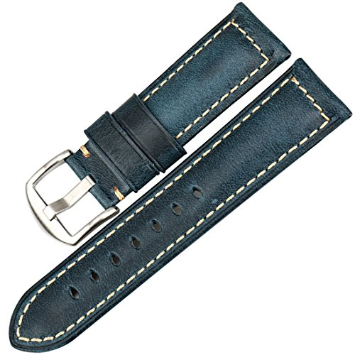 MAIKES Watchband Watch Band Genuine Leather Watch Strap Oil Wax Leather Watch Accessories (22mm, Blue+Silver) ()