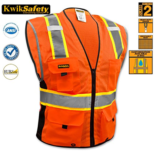 [KwikSafety Class 2 Deluxe Safety Vest | Comfortable Reflective Breathable Mesh w/ Contrast Trimming & Heavy Duty Zipper | Construction Motorcycle Traffic Running Emergency | Men Women | Orange] (Horse Costume Class)