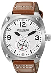 Stuhrling Original Men's 581.02 Aviator Quartz Stainless Steel Watch with Tan Leather Strap
