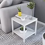 Soges Modern End Table 15.7'' Square Coffee Table Sofa Side Table Telephone Table, White Maple TVST-ZS-MP-40