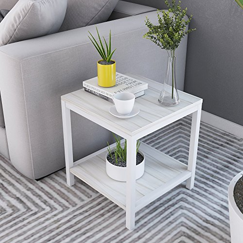 Soges Modern End Table 15.7'' Square Coffee Table Sofa Side Table Telephone Table, White Maple TVST-ZS-MP-40 by soges