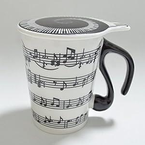 Eshowy, 2 tazze da tè e caffè a tema musicale. Tazze da tè con coperchio con pentagramma e note musicali, regalo per insegnanti o per San Valentino