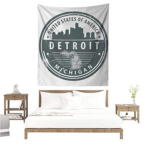 WilliamsDecor Wall Hanging Tapestries Detroit Damaged Old Stamp of Michigan USA with City Map Location Tourism Travel Icon 60W x 80L INCH Suitable for Bedroom Living Room Dormitory ()
