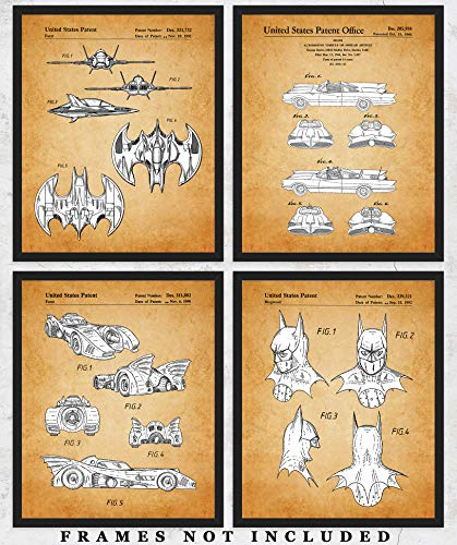 Vintage Bat Mobile Wall Art - Set of Four (8x10) Patent Prints Unframed Make Great Room Wall Decor for Batman Fans!