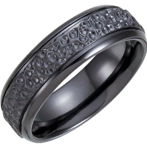 Black Titanium 7.5mm Hammer Finish Comfort Fit Band Size 12.5 by The Men's Jewelry Store