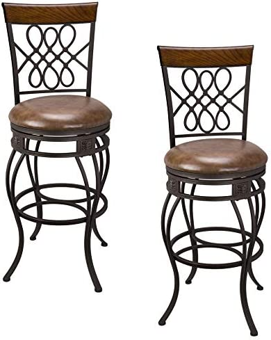 Kira Home Monarch I 30 Swivel Bar Stool, Brown Leatherette Seat Cushion, Scroll Backrest with Real Wood Accent, Old Steel Finish, Set of 2