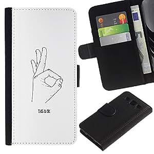 SAMSUNG Galaxy S3 III / i9300 / i747 Modelo colorido cuero carpeta tirón caso cubierta piel Holster Funda protección - Ok Hand Signal Signing White Black Minimalist