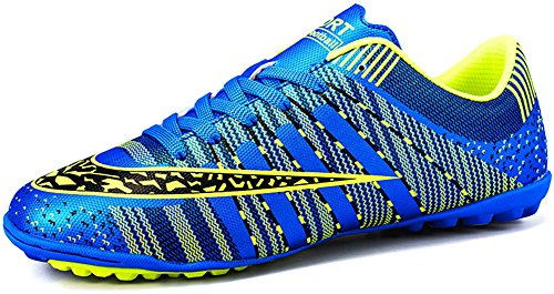 JiYe Men Soccer Shoes for Women Turf Shoe Indoor Cross Training by, Blue,37 EU=5.5US-Kids/6US-Women (Indoor Soccer Turf)