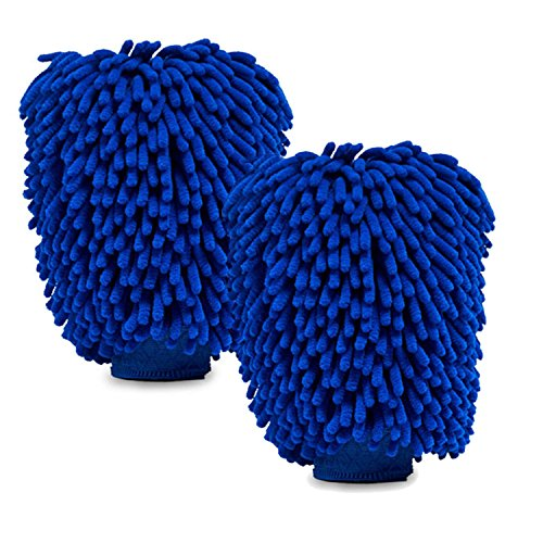 2 Pack of Extra Large Size Premium Microfiber Chenille Super Absorbent Wash and Wax Glove, Car Wash Mitts ()