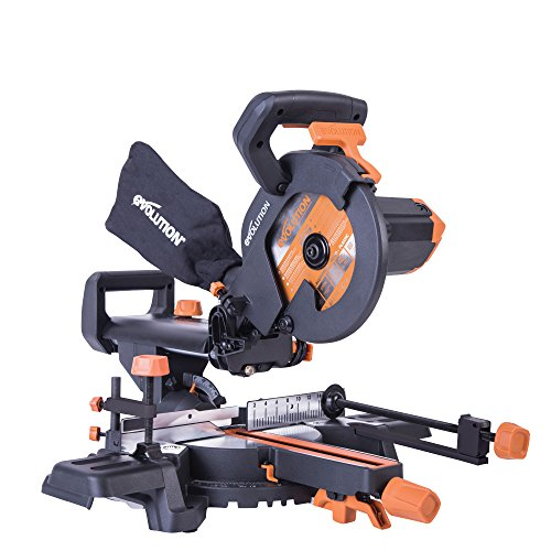 Evolution R210SMS+ Multi-Material Sliding Mitre Saw with Plus Pack, 210 mm...