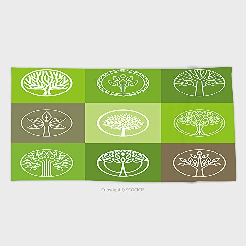 27 5W X 11 8L Inches Custom Cotton Microfiber Ultra Soft Hand Towel Vector Tree Logo Set Of Abstract Organic Design Element Eco And Bio Circle Badge 236328232