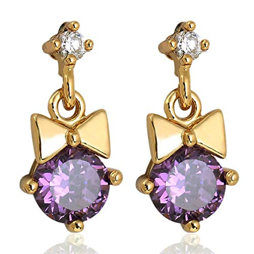 Newly Gift Purple Crystal Stone Waterdrop Drop Earrings Rhinestone Gold Color Piercing Earrings Women Wedding Jewelry Christmas Gift,Gold Color ()