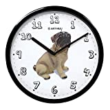JustNile Non Ticking Quiet Sweep Movement Pug Print Quartz Analog Wall Clock for Dog Lovers – 13″ Black Frame with Black Hands Review