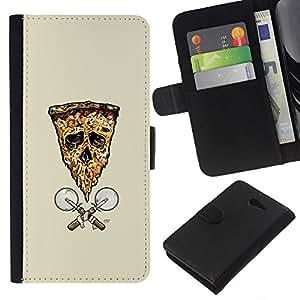 Stuss Case / Funda Carcasa PU de Cuero - Pizza de la bandera del cráneo de - Sony Xperia M2