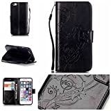 iPod Touch 5th/6th Case Cover [with Free Screen Protector], Funyye Elegant Premium Folio PU Leather Wallet Magnetic Flip Cover with [Wrist Strap] and [Credit Card Holder Slots] Stand Function Book Type Stylish Butterfly Leaf Vines Designs Full Protection Holster Case Cover Skin Shell for Apple iPod Touch 5th/6th - Black