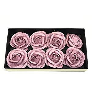 "2"" Mauve Paper Flowers Paper Rose Artificial Flowers Fake Flowers Artificial Roses Paper Craft Flowers Paper Rose Flower Mulberry Paper Flowers 10 Pieces 38"