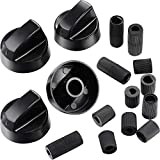 Jetec 4 Pack Black Control Knobs Replacement with 12 Adapters for Oven/Stove/Range, Wide Application