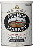 FRENCH MARKET Coffee and Chicory Restaurant Blend, Medium-Dark Roast, 12 Ounce Can