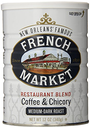 French Market Coffee, Coffee & Chicory Restaurant Blend, Medium-Dark Roast Ground, 12 Ounce Metal Can (Best Drinks In New Orleans)