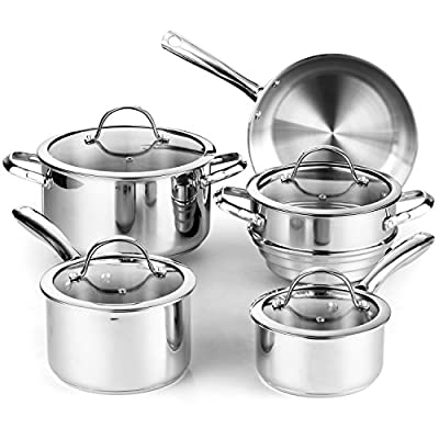 Cooks Standard 02492 9 Piece Classic Stainless-Steel Cookware Set