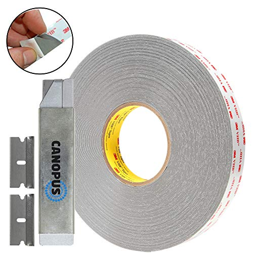 (3M Double Sided Tape, RP32, Heavy Duty VHB, Two Sided Mounting Tape, 0.5 in x 5 yd with Box Cutter and Razor Replacement by)