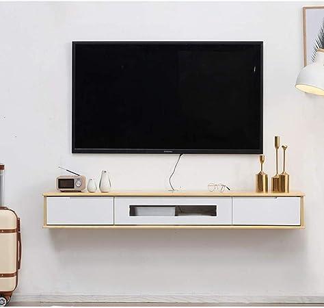 AGYE Mueble TV, Gabinete De TV para Sala De Estar Consola De Almacenamiento De Unidad De TV Gabinete De TV con Dos Estantes para Sala De Estar Dormitorio,WoodColor+white-100x20x20cm: Amazon.es: Hogar
