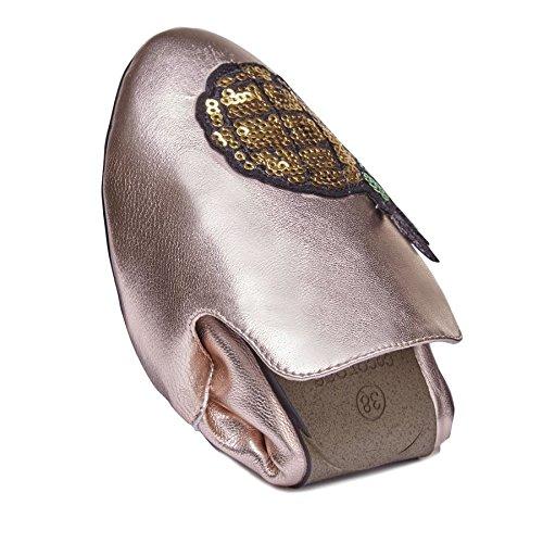 con rosa Alpargatas Ladies de Zapatos plegables Cocorose oro piña Carnaby AIx408