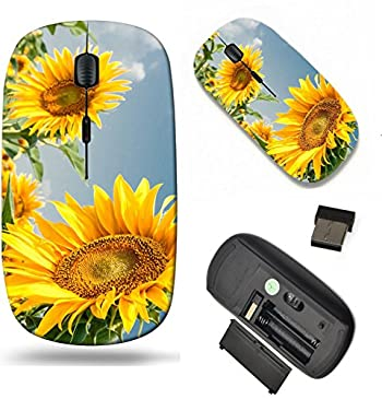 MSD Wireless Mouse Travel 2.4G Wireless Mice with USB Receiver, Noiseless and Silent Click with 1000 DPI for Notebook, pc, Laptop, Computer, mac Book Design 26790937 Sunflowers in The Summer Day on a