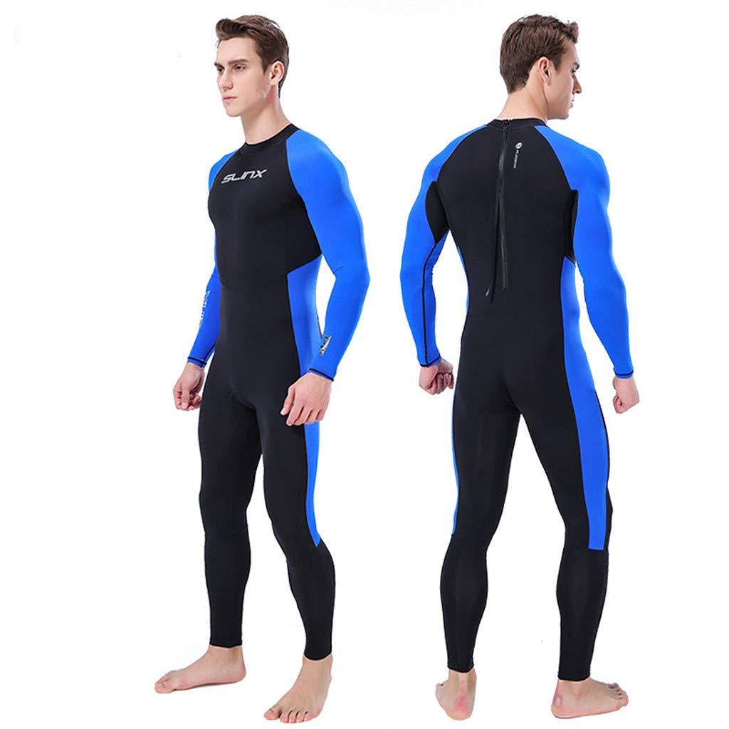 FEDULK Mens Wetsuit Full Suit Super Stretch Water Sport Jumpsuit Diving Suit Swim Surf Snorkeling Wetsuit(Blue, Small)