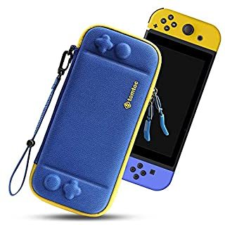 tomtoc Carry Case for Nintendo Switch, Ultra Slim Hard Shell with 10 Game Cartridges, Protective Carrying Case for Travel, with Original Patent and Military Level Protection, Blue