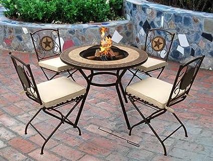 Verona con 4 sillas – Brasero para hacer hogueras, calentador de jardín, barbacoa Fire Pit: Amazon.es: Jardín